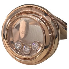 Chopard Happy Emotions Rose Gold Floating Diamonds Ring 82/9217, New