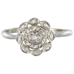 1900s Antique Diamond White Gold Platinum Flower Shape Ring