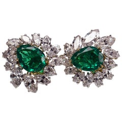 Cartier Emerald Diamond Earclips Earrings