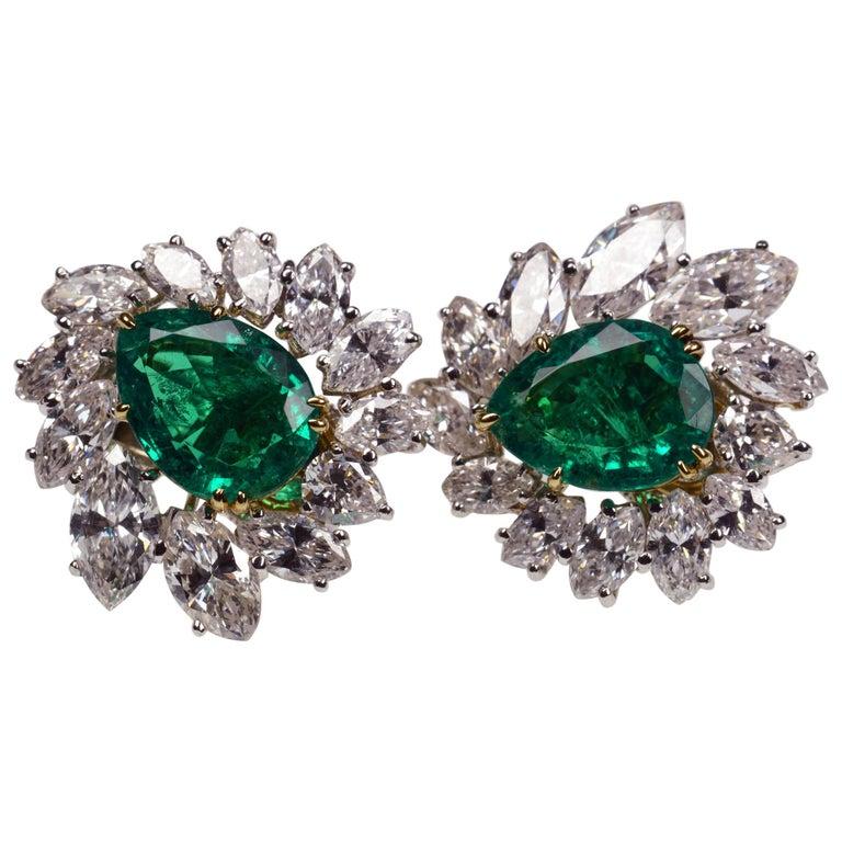 Cartier Emerald Diamond Earclips Earrings For