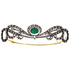 Early 20th Century Emerald and Diamond Tiara