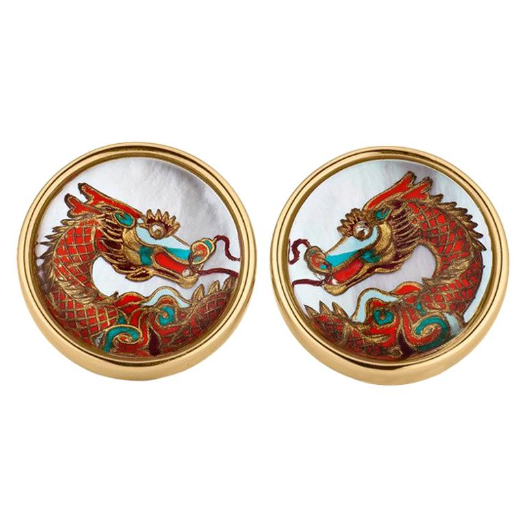 Reverse Carved Rock Crystal and Mother-of-Pearl Dragon Cufflinks