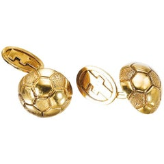 Hermès Paris Pair of Gold Football Cufflinks