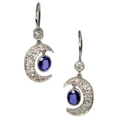 Estate Platinum Sapphire and Diamond Earrings