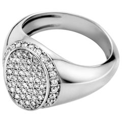 18 Karat White Gold White Diamond Signet Ring