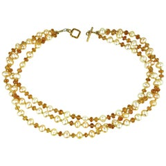 Pearl and Imperial Topaz Multi Strand Necklace