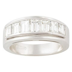 Ella Gafter Baguette Diamond White Gold Band Ring