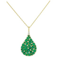 Bespoke 18K YG, 7.75 Ct Emerald and .57 Ct Diamond Teardrop Pendant Necklace