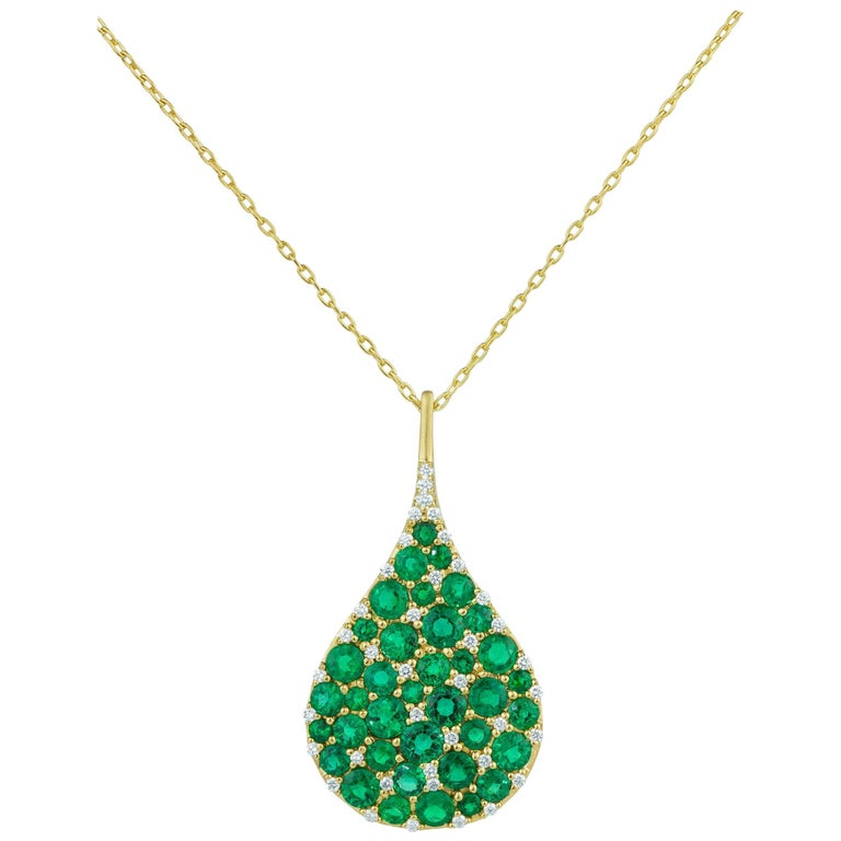 Bespoke Yellow Gold 7.75 Carat Emerald and .57 Carat Diamond Teardrop Pendant