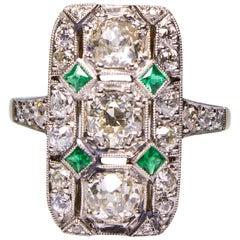 Antique Art Deco 18 Karat Gold 2.27 Carat Diamond and Emerald Ring