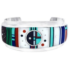 Brilliant Native American Inlaid Stone Sterling Cuff