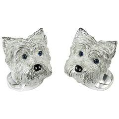 Deakin & Francis Sterling Silver Westie Terrier Dog Cufflinks