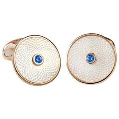 Deakin & Francis Sterling White Mother-of-Pearl Sapphire Dreamcatcher Cufflinks