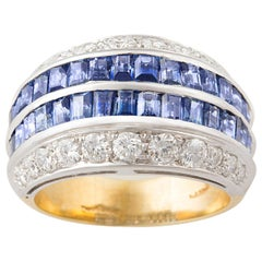 Ella Gafter Blue Sapphire and Diamond Cocktail Ring