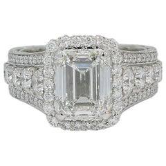 Tacori Platinum 4.04 Carat Diamond Ring H-VS2 GIA
