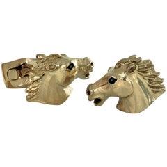 Deakin & Francis Gold-Plated Horse Head Cufflinks
