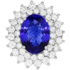 8.80 Carat Oval Shaped Tanzanite and 3.32 Carat White Diamond Ring