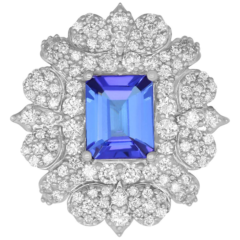 2.78 Carat Emerald Cut Tanzanite and 2.22 Carat White Diamond Ring