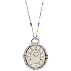 Patek Philippe Sapphire and Diamond Pocket Watch with White Gold Chain