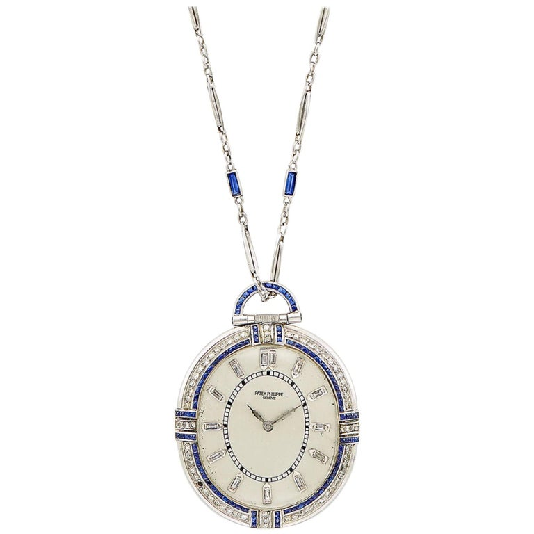 Patek Philippe Diamond Sapphire Pocket Watch with White Gold Chain