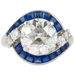 GIA Certified 2.99 Carat Old European Cut Diamond and Sapphire Ring