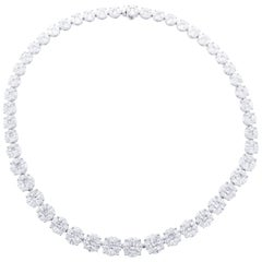 David Rosenberg 33.71 Carat Princess and Marquise Shape Diamond Necklace