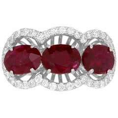 3.25 Carat Oval Ruby and Diamond Ring