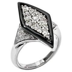Picchiotti Diamond and Onyx Ring 18 Karat White Gold 1.09 Carat