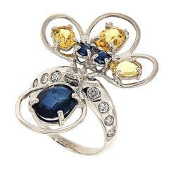 Sapphires Beryls Diamonds Gold Ring Handcrafted In Italy By Botta Gioielli