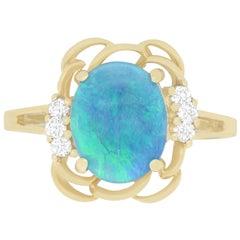 1.71 Carat Opal and 0.12 Carat Diamond Ring