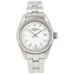 Rolex Ladies Date Stainless Steel Oyster Bracelet with White Dial, Circa 1996