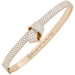 Modern 18K Rose Gold and 1.64 Carat Pave Diamond Carelle Knot Bangle Bracelet