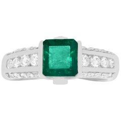 1.34 Carat Emerald Cut Natural Emerald and 0.61 Carat White Diamond Ring