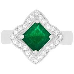 1.40 Carat Cushion Cut Emerald and 0.29 Carat White Diamond Ring