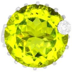 21.00 Carat Yellow Quartz and Diamond Ring