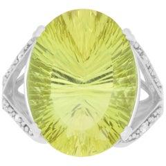 12.12 Carat Lemon Quartz and Diamond Ring