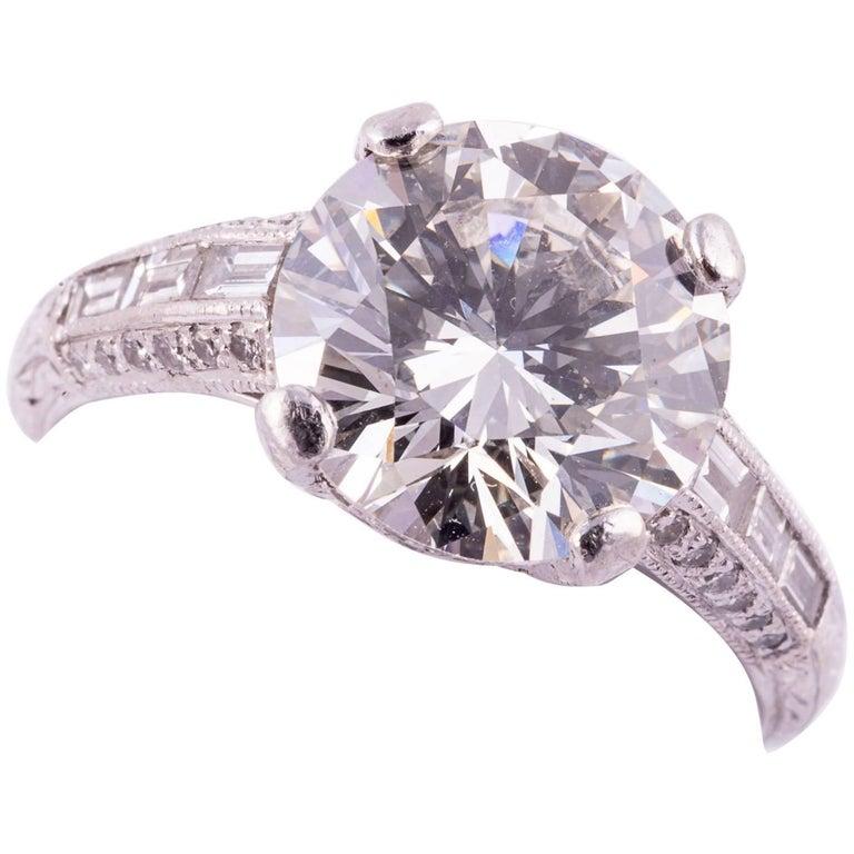 4.04 Carat Round Brilliant Cut Diamond Engagement Ring For Sale