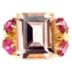 Morganite and Pink Tourmaline 18 Karat Yellow Gold Ring
