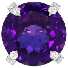 25.93 Carat Round Amethyst and Diamond Ring