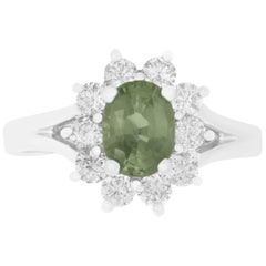 0.99 Carat Oval Natural Color Changing Alexandrite and Diamond Ring