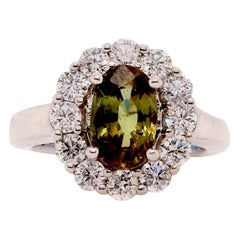 GIA Certified 2.23 Carat Oval Natural Color Changing Alexandrite Flower Ring