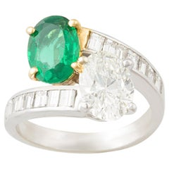 Ella Gafter Emerald and Diamond Crossover Ring