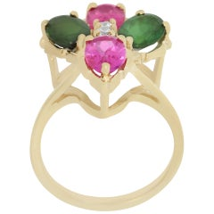 Green and Pink Tourmaline and Diamond Ring