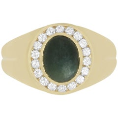 3.45 Carat Green Sapphire and 0.45 Carat Diamond Men's Ring