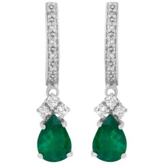 1.25 Carat Pear Shaped Emerald and White Diamond Drop Earring