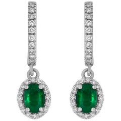 0.96 Carat Oval Shaped Emerald and White Diamond Drop Earring