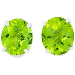 2.15 Carat Oval Peridot Stud Earrings