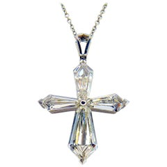 Modern Style GIA Certified Diamond Platinum Cross