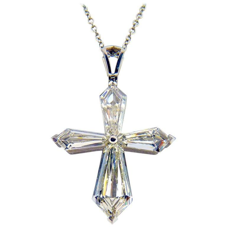 Modern Style GIA Certified Diamond Platinum Cross For Sale
