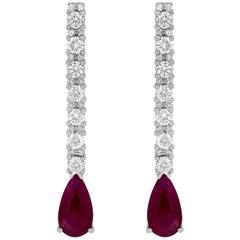1.95 Carat Pear Shaped Ruby and 1.81 Carat Diamond Drop Earrings